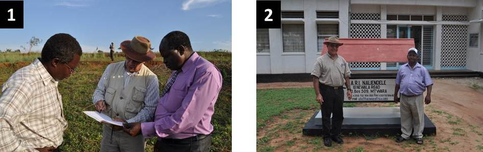 Flashback to 2010. Picture on the left: Hannibal at a planning session at Sega, Western Kenya, with Samuel Gudu and  Onkware Augustino. Picture on the right: Similarly, at Naliendele, in Tanzania with Omari Mponda.