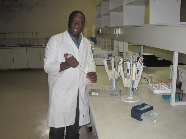 Kennedy Simango at work a the Crop Breeding Institute.