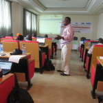 A hands-on BMS orientation workshop for breeders in Africa, held in Ethiopia in Julu 2013 under the auspices of the GCP-funded cassava breeding community of practice. Standing, Yemi Olojode, of Niageria's National Root Crops Research Institute, Umidike.