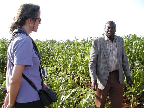 Rebecca (left) on a field visit to Kenya in September 2006. On the left is John Okalembo of Moi University, with James Gethi behind the camera.