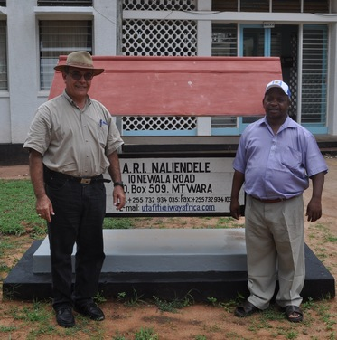 Omari (right), with Hannibal Muhtar (left), who was contracted by GCP to implement infrastructure improvement for ARI Naliendele. See http://bit.ly/1hriGRp