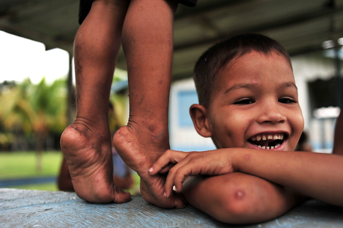 At play: children of the Sao Felix community in the Brazilian Amazon.