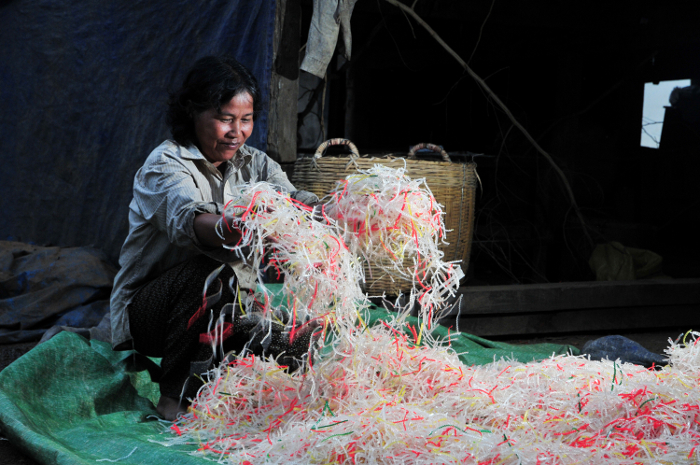 Colourful streamers for the coronation? No, they're cassava noodles being made in Kampong Cham, Cambodia.