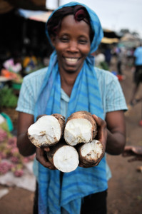 Hefty chunks of cassava – full of energy and nutrients – on sale in Kampala, Uganda.